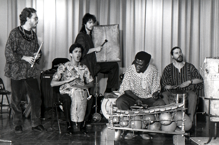 Obo Addy with musicians from Portland, Oregon, who also learned traditional music using the instruments: *giri*, *tamale*, *wia*  and shakers, courtesy Susan Addy