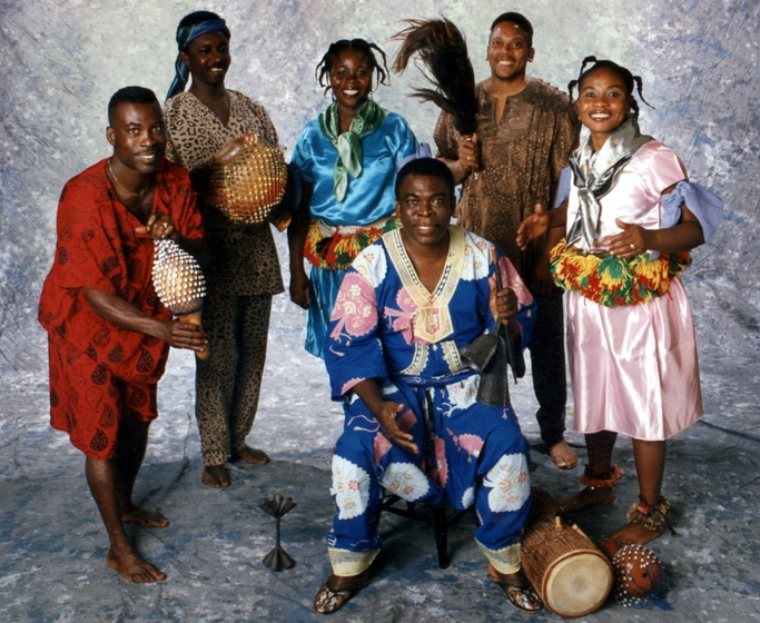 Studio portrait of Okropong, Obo Addy's traditional music and dance group, 1994, courtesy Susan Addy