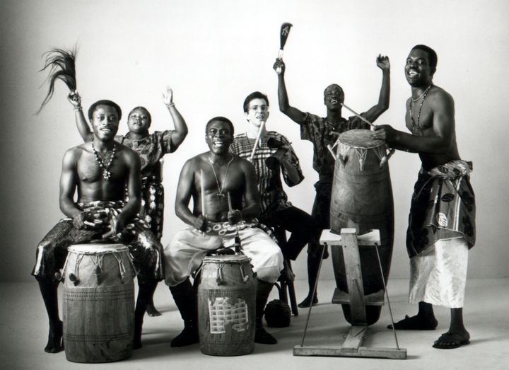 Studio portrait of Okropong, Obo Addy's traditional music and dance group, 1988, courtesy Susan Addy
