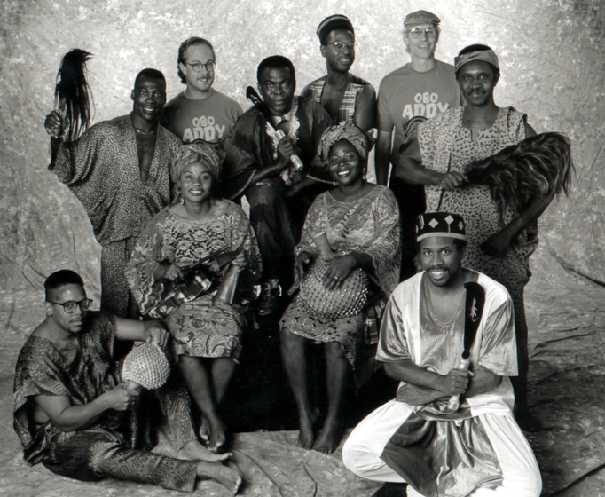 Studio portrait of Okropong and Kukrudu, Obo Addy's music and dance groups, preparing for a national tour, 1997, courtesy Susan Addy