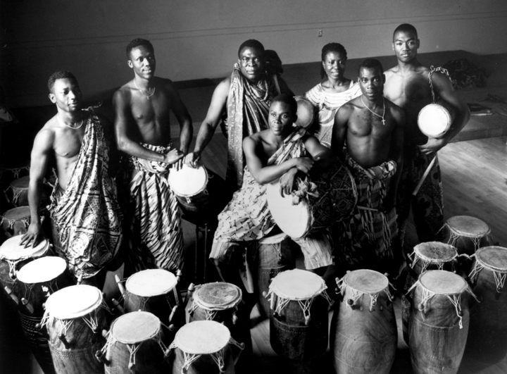 Studio portrait of Okropong, Obo Addy's traditional music and dance group, 1999, courtesy Susan Addy