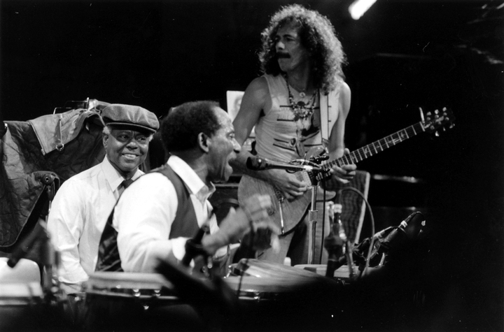 Armando Peraya, Francisco Aguabella and Carlos Santana during the filming of *Sworn to the Drum*, October 25, 1985, photograph by Chris Strachwitz/Arhoolie Records