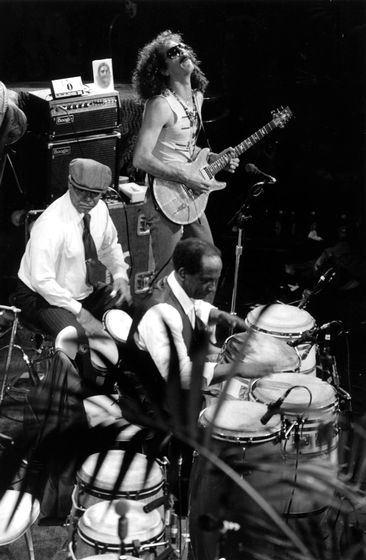 Armando Peraya, Francisco Aguabella, Carlos Santana, filming of *Sworn to the Drum*, October 25, 1985, photograph by Chris Strachwitz/Arhoolie Records