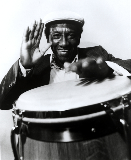 Francisco Aguabella was a *batá* drummer, playing a ceremonial musical style integral to the African-derived *Santería* religion. He was equally virtuosic at secular forms of Afro-Cuban music. Courtesy *Los Angeles Times*
