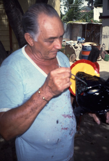 Juan Alindato working on one of his masks, photograph by Jack Delano, courtesy of National Endowment for the Arts