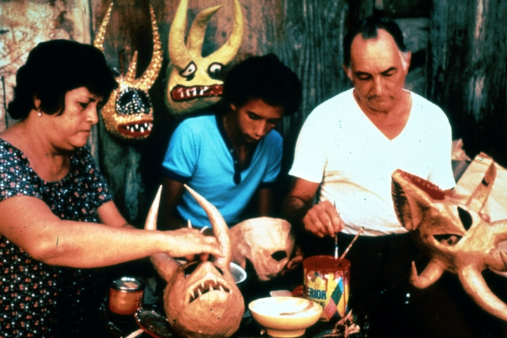 Juan Alindato with his masks, photograph by Jack Delano, courtesy of National Endowment for the Arts