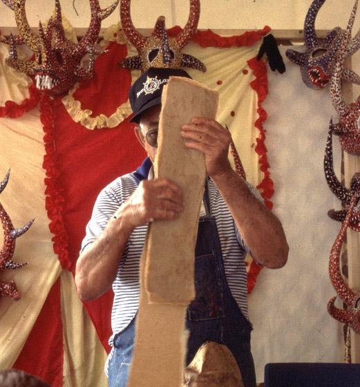 Juan Alindato demonstrates the making of his masks at the 1994 Festival of American Folklife in a program honoring the National Heritage Fellows, courtesy Ralph Rinzler Folklife Archives and Collections, Center for Folklife and Cultural Heritage, Smithsonian Institution