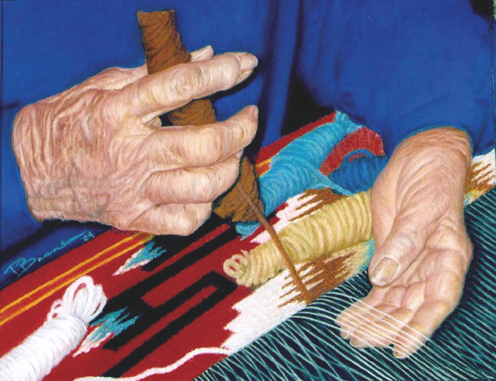Eppie Archuleta works on another weaving, Courtesy of Ruben Archuleta  