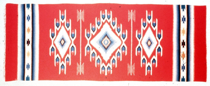 "Chimayo-style weaving by Eppie Archuleta, Aniline-dyed commercial wool, 75"" x 29"", 1987, photograph by Michel Monteaux, courtesy Museum of International Folk Art  (a unit of the Museum of New Mexico)"