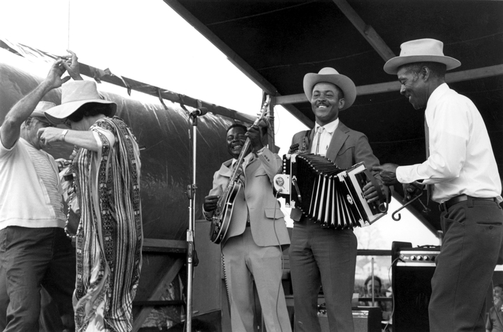 Alphonse 'Bois Sec' Ardoin (accordion), New Orleans Jazz and Heritage Festival, New Orleans, Louisiana, 1973, photograph by Chris Strachwitz