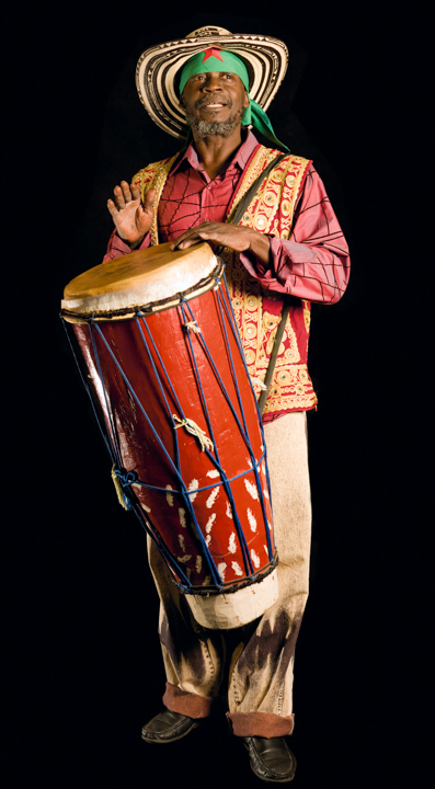 "Haitian American drummer Frisner Augustin, who lived in New York, ""brought down the spirit"" at Vodou rituals. He also taught drumming, in part to dispel negative stereotypes of his religion. 2008, photograph by Alan Govenar"