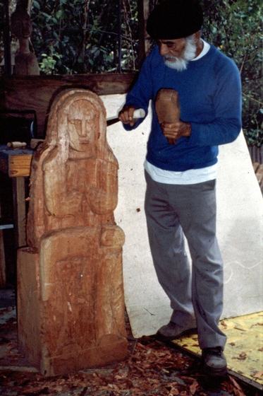 Celestino Avilés with his wood carving of a virgin and child, courtesy National Endowment for the Arts