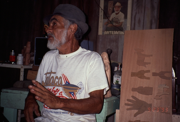 Celestino Avilés with one of his *santos* carvings, courtesy National Endowment for the Arts