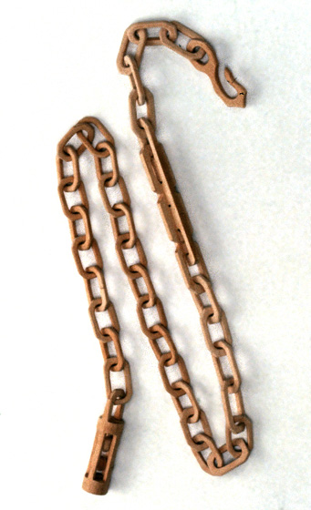 "Carved chain by Earnest Bennett, carved from a single piece of wood, 56 1/2"" long, 1988, photograph by Michel Monteaux, courtesy Museum of International Folk Art (a unit of the Museum of New Mexico)"