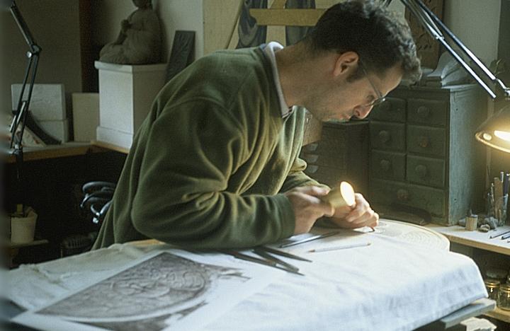 Nicholas Benson at work in the John Stevens Shop, Newport, Rhode Island, courtesy Nicholas Benson