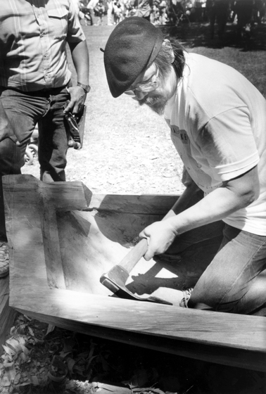 George Blake, a Native American artisan of Hupa-Yurok descent, creates a dugout canoe. Combining library research with instruction from tribal elders, he learned to make bows, ceremonial regalia and other traditional crafts. Photograph by Lee Brumbaugh, courtesy National Endowment for the Arts