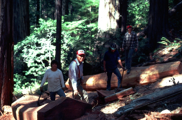 George Blake canoe workshop, Redwood National Park, California, ca. early 1980s, courtesy National Endowment for the Arts