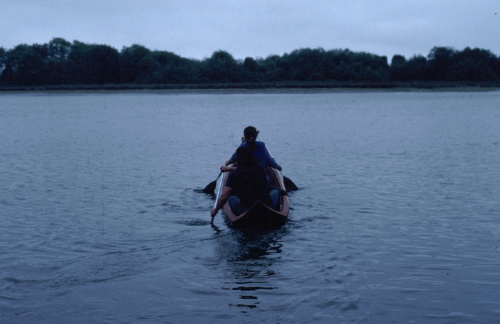 Yurok canoe by George Blake,  artist in residence, Humboldt State University, launching one of his Yurok canoes, 1990, courtesy National Endowment for the Arts