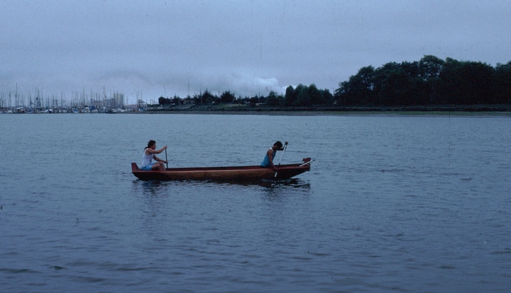 artist in residence, Humboldt State University, launching one of his Yurok canoes, 1990, courtesy National Endowment for the Arts