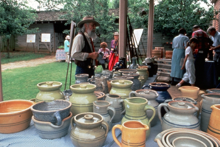 Brown Pottery display, Alabama Folklife Festival, ca. 1991-92, photograph by Ken Reynolds, courtesy Alabama State Council on the Arts