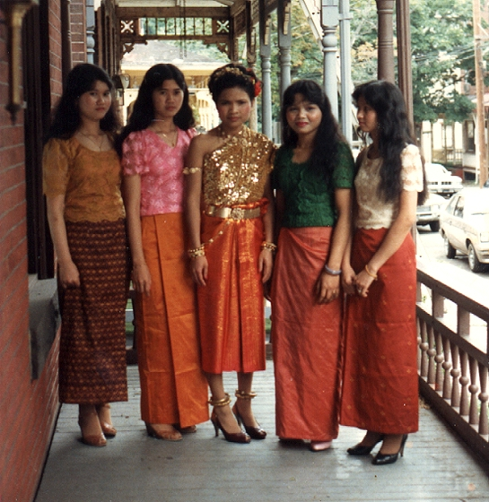 Traditional Cambodian formal dress for weddings and special occasions. The skirts are made in the style of Em Bun. Harrisburg, Pennsylvania, 1984, courtesy Em Bun