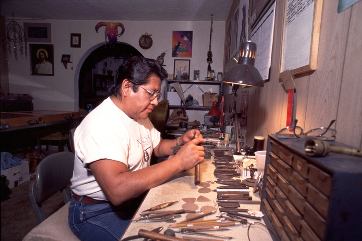 "Bruce Caesar, a third-generation Pawnee metalsmith, works with German silver. His jewelry designs, in his words, can be ""as simple as a sentence that conveys a thought or as deep as an essay that conveys a whole belief."" Photograph by Sandy Settle, courtesy National Endowment for the Arts"