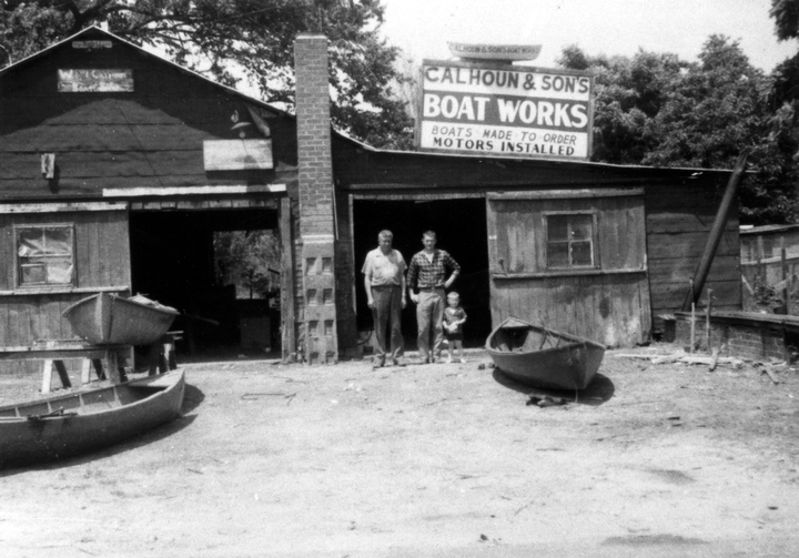 Dale Calhoun with his father, Bill and his son, William, at the old Calhoun shop, Tiptonville, Tennessee, ca. early 1950s, courtesy Joanne Calhoun