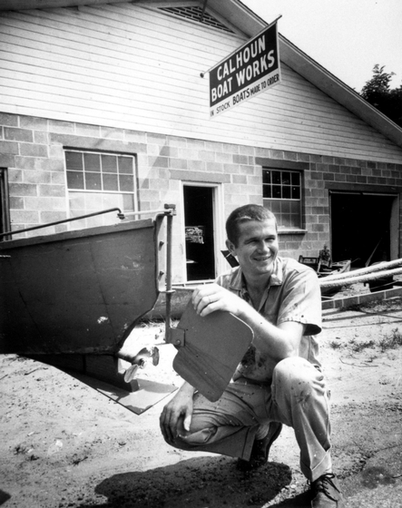 Dale Calhoun at his remodeled shop on Lake Drive, Tiptonville, Tennessee, ca. late 1950s, courtesy Joanne Calhoun
