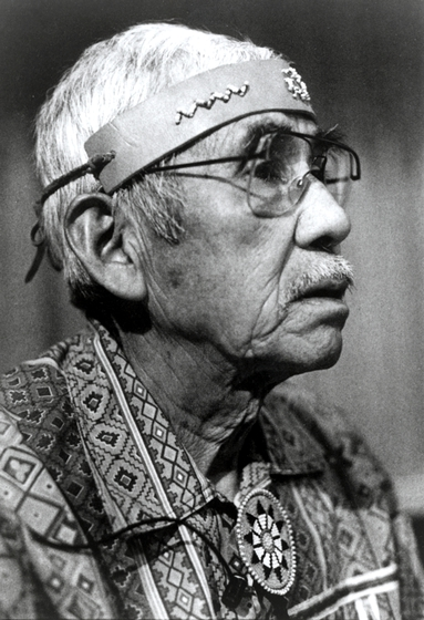 Singer, dancer and banjo player Walker Calhoun was widely recognized as a keeper of ancient Cherokee traditions. He often traveled from his North Carolina home to Oklahoma to share his knowledge with tribal members there. Photograph by Rob Amberg, courtesy National Endowment for the Arts