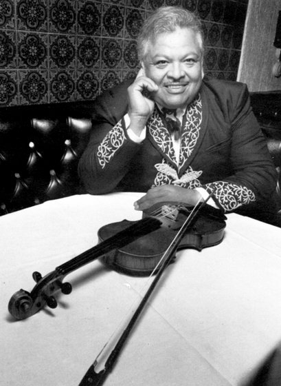 Natividad Cano was a native of western Mexico, where he began playing *mariachi* music professionally at 17. After settling in Los Angeles in the 1960s, he helped perpetuate the *mariachi* tradition through his frequent performances and by mentoring children and young adults. Photograph by Gerard Burkhardt, courtesy Natividad Cano