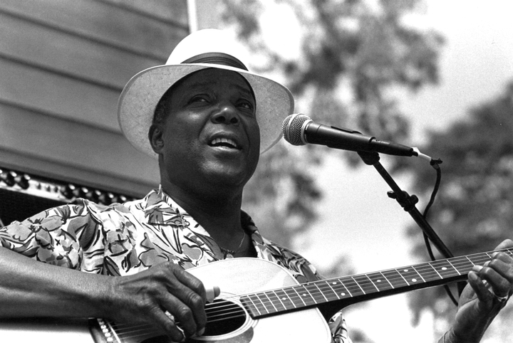 John Cephas, Front Porch Stage, Chicago Blues Festival, Chicago, Illinois, June 1990, photograph by Jack Vartoogian