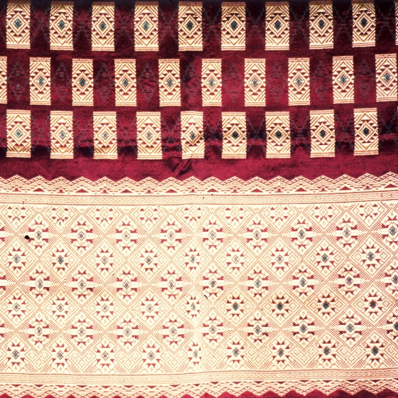 Lao skirt (detail), weaving by Bounxou Chanthrapone with traditional designs from the southern region of Laos, cotton, linen and nylon, courtesy National Endowment for the Arts