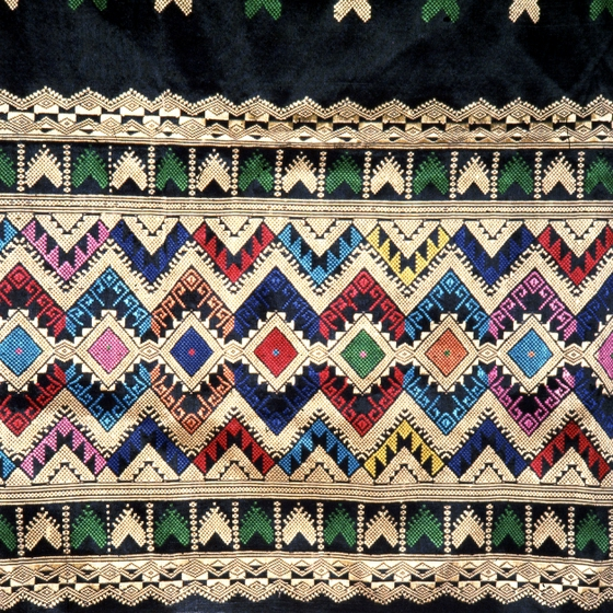 Lao semi-formal skirt (detail), weaving by Bounxou Chanthrapone with traditional designs from the northern region of Laos, cotton, linen and nylon, courtesy National Endowment for the Arts