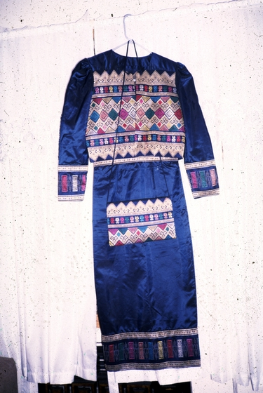 Modern evening dress with purse, weaving by Bounxou Chanthrapone with traditional designs from the central and southern regions of Laos, cotton, linen and nylon, courtesy National Endowment for the Arts