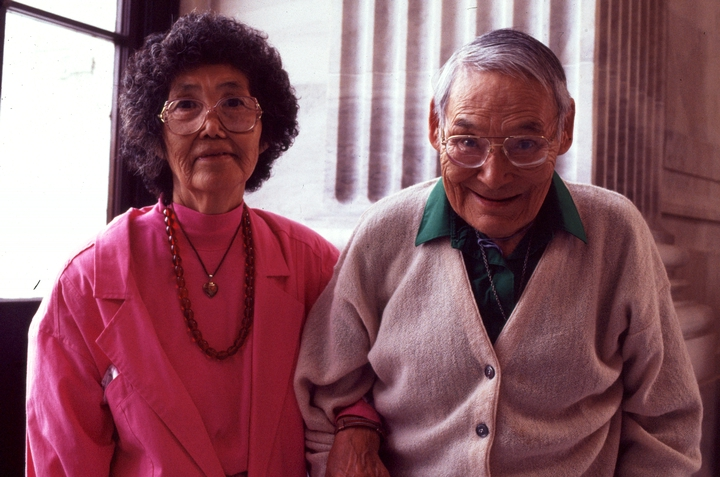 Elena and Nicholas Charles were at the forefront of revitalizing the maskmaking and traditional crafts of the Yup'ik people of Alaska. Photograph by William K. Geiger, courtesy National Endowment for the Arts