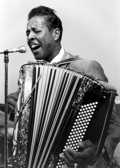 Accordionist Clifton Chenier was one of the originators of zydeco, a Louisiana music that fuses Cajun, African American and French Afro-Caribbean sounds. New Orleans, Louisiana, 1974, photograph by Chris Strachwitz/Arhoolie Records