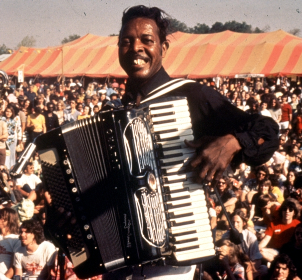 Clifton Chenier performs at the 1978 New Orleans Jazz and Heritage Festival, photograph by Michael P. Smith