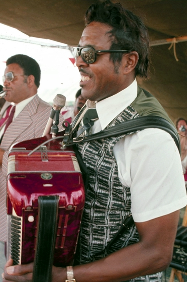 Clifton Chenier, New Orleans Jazz and Heritage Festival, New Orleans, Lousiana, 1975, Photograph by Michael P. Smith