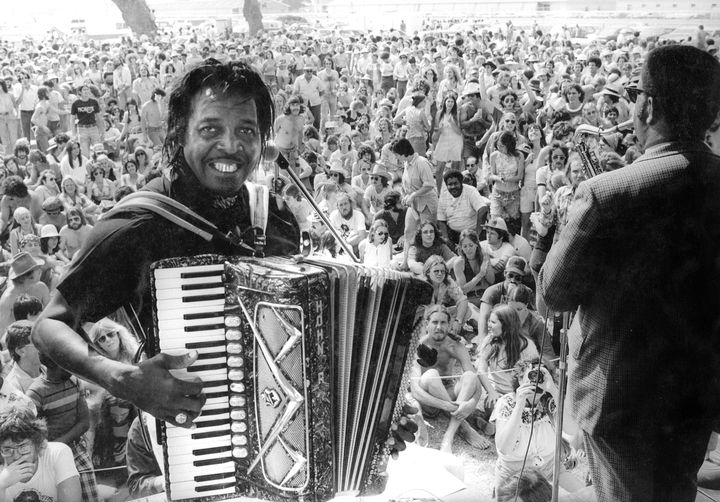 Clifton Chenier, New Orleans Jazz and Heritage Festival, New Orleans, Lousiana, 1975, Photograph by Michael P. Smtih