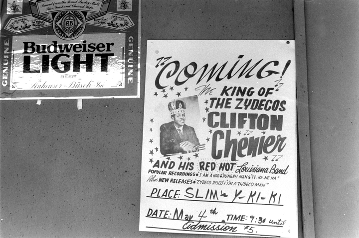 Clifton Chenier poster, Oppelousas, Lousiana, 1985, photograph by Chris Strachwitz/Arhoolie Records