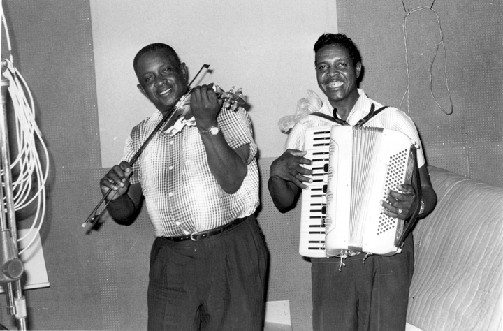 Morris Ardoin and Clifton Chenier, May 1966, photograph by Chris Strachwitz/Arhoolie Records