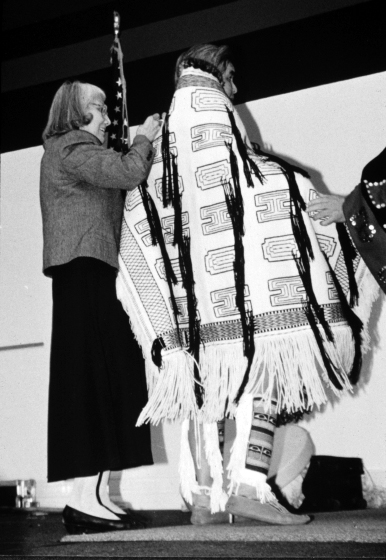 Raven's tail robe by Delores Churchill, courtesy Delores Churchill