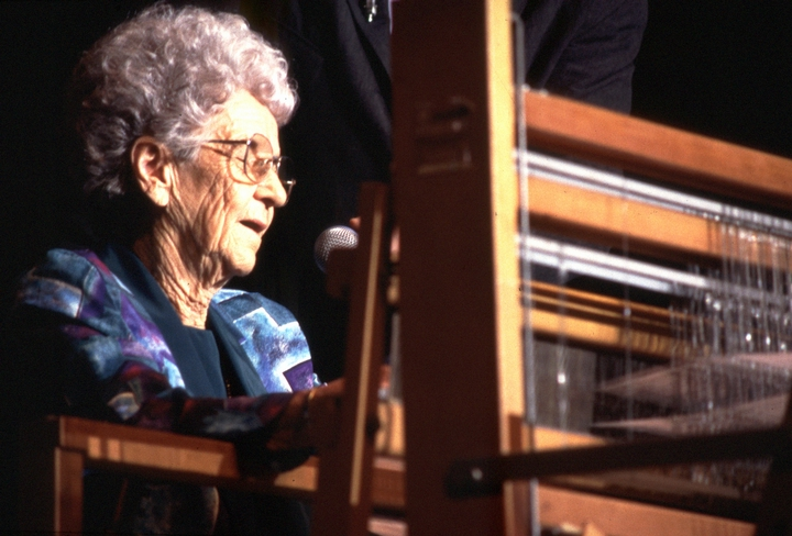 Growing up in Lafayette Parish, Louisiana, Gladys LeBlanc Clark learned from family members and was an accomplished weaver by her teens. She maintained the tradition of using brown cotton, which distinguishes Cajun weaving. 1997, National Heritage Fellowship Ceremonies, courtesy National Endowment for the Arts