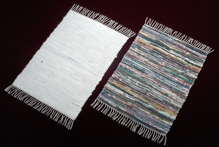 White and multi-color rag placemats woven by Gladys LeBlanc Clark, photograph by Thomas A. Wintz, courtesy Louisiana Folklife Program