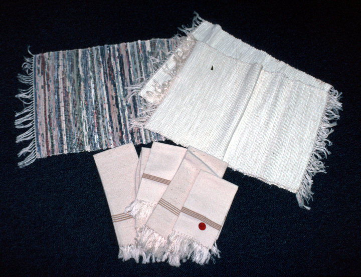 White and multi-color rag placemats with cotton napkins woven by Gladys LeBlanc Clark, photograph by Maida Owens, courtesy Louisiana Folklife Program