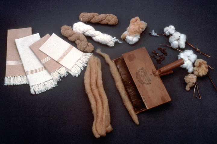 Gladys LeBlanc Clark's napkins, cotton and weaving supplies, courtesy National Endowment for the Arts