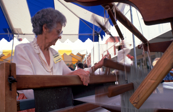 Gladys LeBlanc Clark demonstrates weaving at the Louisiana Folklife Festival, 1991, photograph by Sides and Associates, courtesy Louisiana Folklife Program