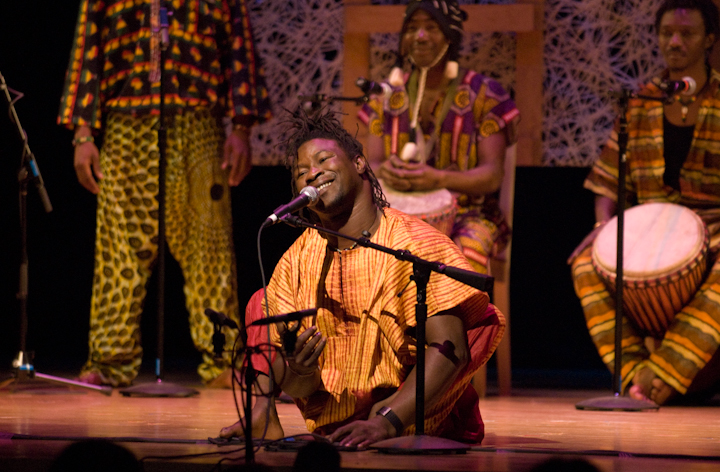 Sidiki Conde performing with his Tokounou ensemble, 2007 National Heritage Fellowship Concert, Bethesda, Maryland, photograph by Alan Hatchett