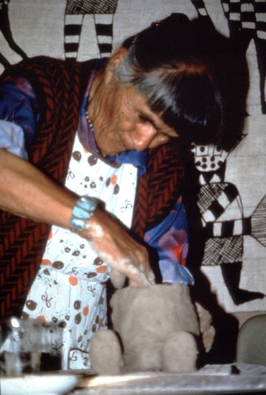 Helen Cordero at work, courtesy Museum of International Folk Art (a unit of the Museum of New Mexico)