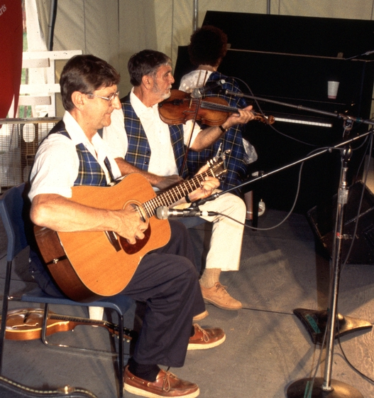 Joseph Cormier (right) performs at the 1994 Festival of American Folklife in a program honoring the National Heritage Fellows. courtesy Ralph Rinzler Folklife Archives and Collections, Center for Folklife and Cultural Heritage, Smithsonian Institution